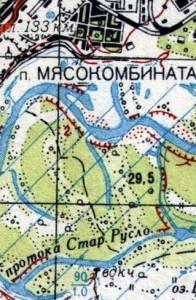 карта местности у пос. Мясокомбинат до 1060 года
