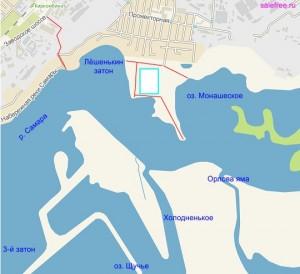 схема проезда(красным) в воде в районе алёшенькиного затона с посёлка мясокомбинат