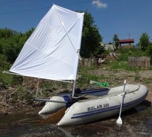 подвесной парус на транце лодки